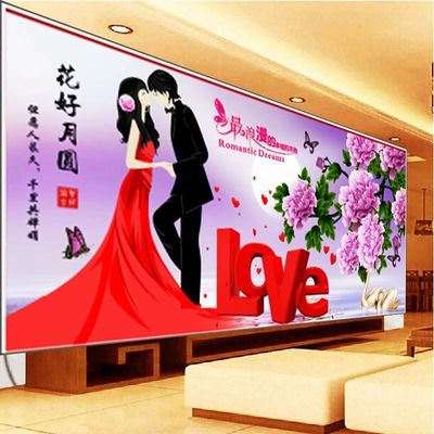 5D钻石画幸福约定百年好合简约现代婚庆婚礼爱情婚房半钻非满钻简