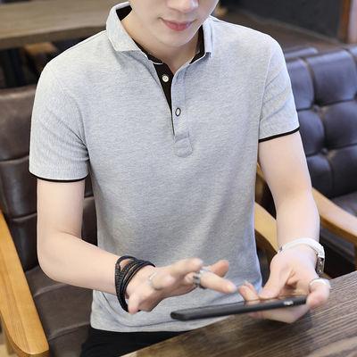 2020夏季纯棉男士短袖t恤半袖韩版翻领polo衫v领潮流男装体恤衣服