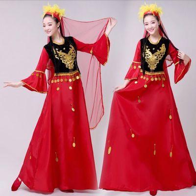 维吾尔族舞蹈服装女2019新款民族表演服饰维吾尔族 舞台妆演出服