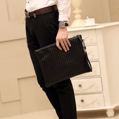 休闲新款时尚手包手工编织男女信封包手拿包手抓包A4文件包ipad包