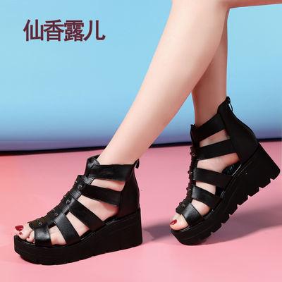 头层牛皮松糕鞋女凉鞋坡跟厚底罗马女鞋韩版鱼嘴平底女士真皮凉鞋