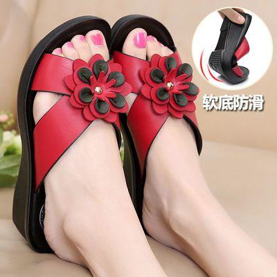 妈妈凉拖鞋女夏时尚外穿中老年妇女士拖鞋中坡跟防滑软底新款厚底