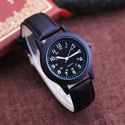 儿童男生男孩24小时制皮带防水石英手表学生考试用时尚韩版手表