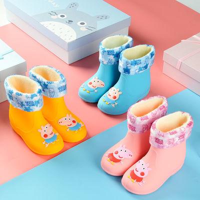 新款儿童雨鞋小猪佩奇男女童雨靴防滑防水卡通低筒加绒保暖水鞋