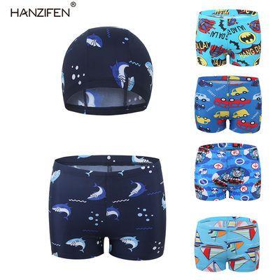 新款儿童泳裤泳帽套装男童鲨鱼游泳衣学生卡通托马斯蝙蝠侠游泳裤
