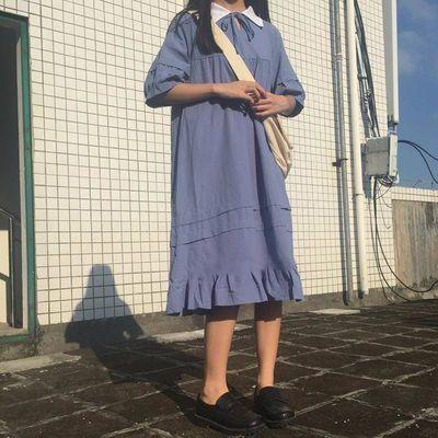 学院风复古荷叶摆少女纯色连衣裙夏季短袖学生韩版宽松超火中长裙