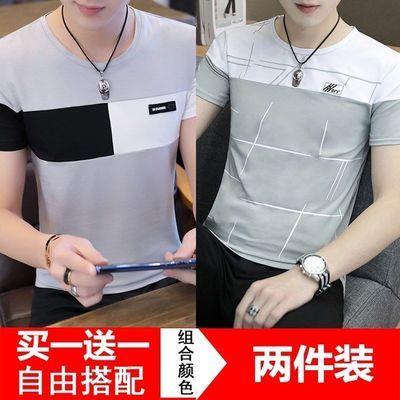 2件装】男士短袖男t恤男夏季韩版潮流修身打底衫ins潮牌半袖体��