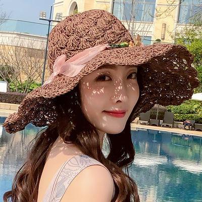 草帽女花环夏天海边度假遮阳帽韩版太阳帽可折叠防晒大沿沙滩帽子