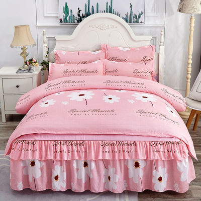 韩版床裙四件套公主风床罩磨毛床单被套双人1.5/1.8/2.0m床上用品