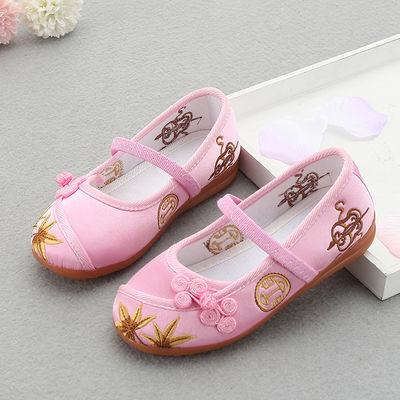 儿童绣花鞋男童女童汉服布鞋古装仙女贵妃棉麻布鞋翘头履绣花