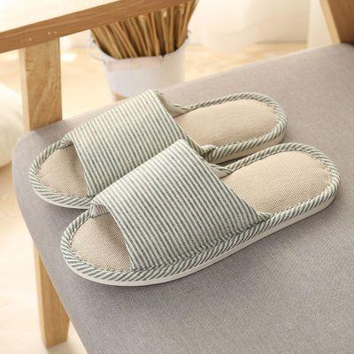 买一送一四季亚麻拖鞋女室内防滑居家布拖鞋男士家居拖鞋地板夏季