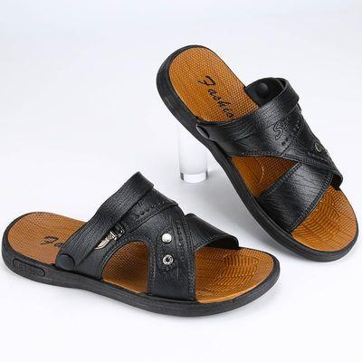 【质保一年】凉鞋男夏季防水防滑沙滩鞋男士两用大码凉拖鞋仿牛皮