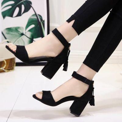 A27夏季新款女鞋粗跟高跟鞋女中跟一字扣带露齿凉鞋包跟后拉链罗