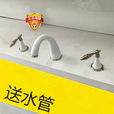 白色三孔水龙头冷热洗脸盆面盆龙头全铜仿古欧式台盆分体式三件套