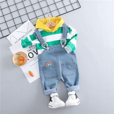 男女宝宝春秋装新款长袖牛仔背带裤套装男童装帅气潮衣服1-2-3岁