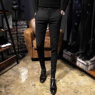 夏季薄款休闲裤男士修身西裤韩版小脚黑色潮流男裤子青年西装长裤