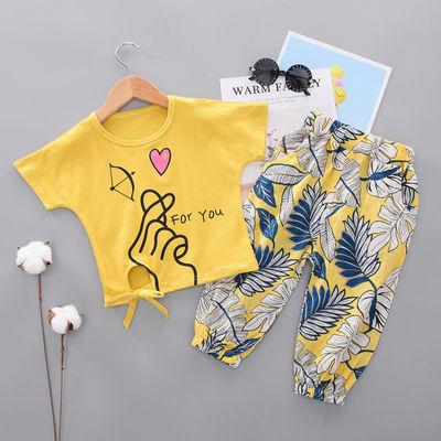 网红爆款夏装新款男女童装短袖短裤单-两件套0-4岁女宝宝女孩沙滩