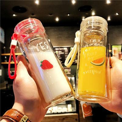 双层透明水果玻璃杯女学生可爱隔热水杯个性便携韩版情侣泡茶杯子