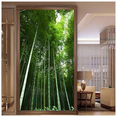 客厅走廊过道玄关风水装饰画墙贴自粘画绿色竹林风景竹子挂画壁画