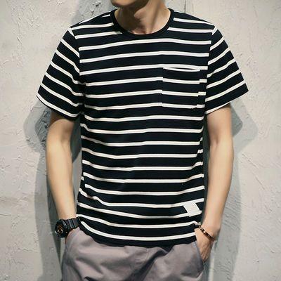 夏季条纹短袖T恤男士社会小伙新款圆领宽松韩版潮流加大码POLOs衫