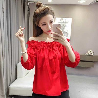 韩版夏新款露肩时尚雪纺衫宽松大码女装气质红色半袖一字领上衣潮