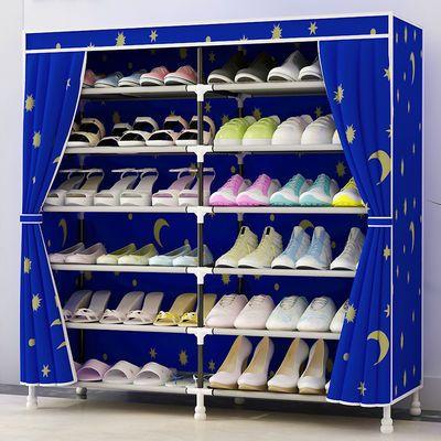 双排鞋架鞋柜简易牛津布无纺布多层经济型钢架防尘收纳鞋柜单排