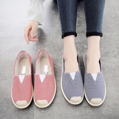帆布鞋女新款春季透气休闲平底一脚蹬女鞋子韩版卡通老北京布鞋