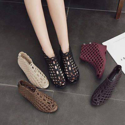 新款女士夏季高帮鱼嘴高跟凉鞋坡跟防滑高帮果冻鞋网状镂空妈妈鞋