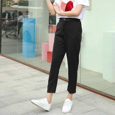 九分西装裤女直筒学生宽松显瘦韩版黑色休闲阔腿哈伦萝卜烟管夏季