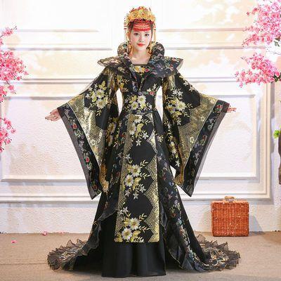 女古装武则天贵妃演出服cos黑色仙女公主皇后豪华拖尾古装演出服