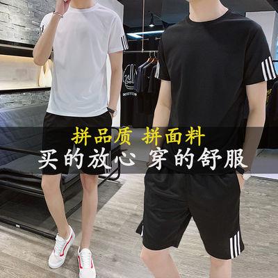 夏季薄款短袖T恤套装男韩版休闲运动短裤男士帅气两件套工作衣服