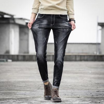 秋季弹力牛仔裤男士修身小脚秋冬加绒黑色休闲直筒裤子男韩版潮流