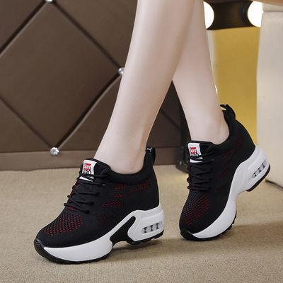 10厘米内增高女鞋网面透气2020春夏新款网红百搭休闲黑色运动鞋子