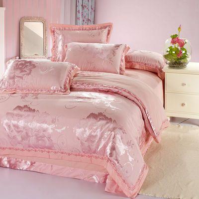高档欧式绣花提花四件套纯棉全棉婚庆2米床上用品被套单