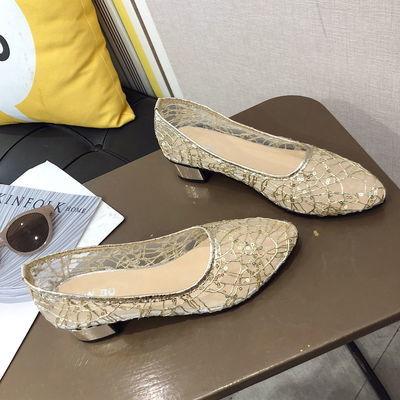 2020夏季新款粗跟凉鞋女韩版百搭网纱镂空尖头单鞋子女中跟工作鞋