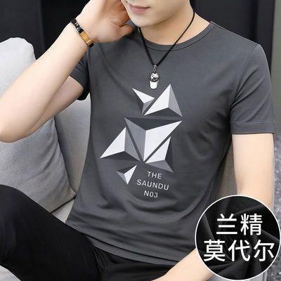 莫代尔短袖男装t恤韩版潮流学生夏季上衣服印花冰丝半袖男士体恤