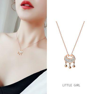 韩国长命锁钛钢项链女不掉色玫瑰金锁骨链个性小众平安锁吊坠配饰