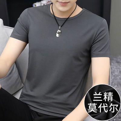 莫代尔夏季短袖t恤男士潮流圆领纯色上衣服男装夏装韩版冰丝半袖