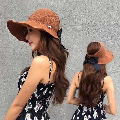 遮阳帽女夏天防晒可折叠户外沙滩帽子大檐防紫外线草帽空顶太阳帽