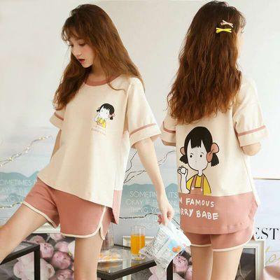 31865/睡衣女夏短袖棉质两件套韩版卡通清新学生套装薄款女可外穿家居服