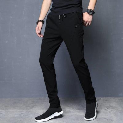 冰丝夏季男士宽松裤子休闲裤弹力直筒修身男裤薄款运动裤潮流百搭