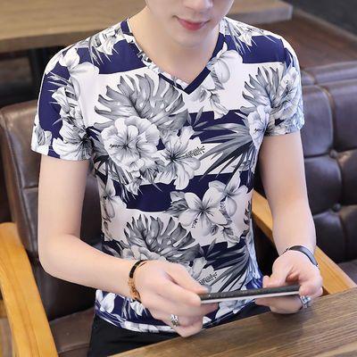 夏季男士短袖t恤打底衫花色上衣服修身潮流冰丝半袖小衫帅气男装