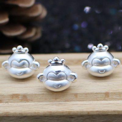 999纯银3D硬银 皇冠猴子转运珠 十二生肖皇冠猴本命年路路通 手链