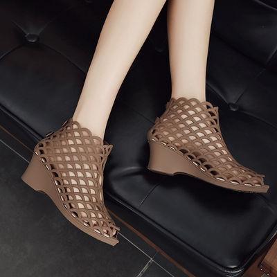 2020女士港风高帮鱼嘴高跟凉鞋坡跟防滑高帮果冻鞋网状镂空妈妈鞋