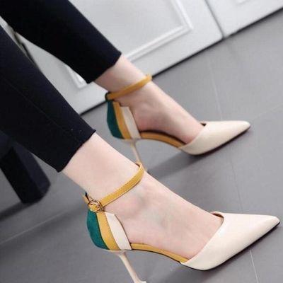 B26高跟鞋女细跟凉鞋女夏秋单鞋2019新款性感尖头时尚中空一字扣