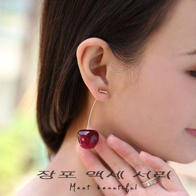 仿真紫色樱桃耳环女长款防过敏耳坠女气质韩国百搭网红小众耳饰