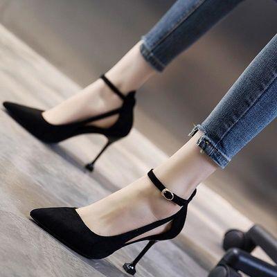 B26一字扣带高跟鞋女夏2019韩版新款法式少女细跟尖头床上性感凉