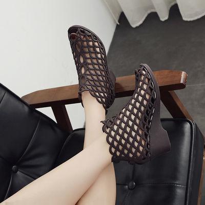 2019夏季女士韩版高帮鱼嘴高跟凉鞋坡跟防滑果冻鞋网状镂空妈妈鞋
