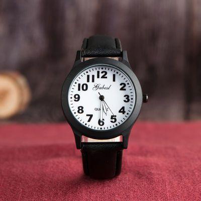 男生简约皮带手腕表初中小学生男孩韩版石英防水电子儿童手表