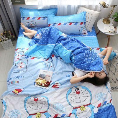 夏天网红卡通哆啦A梦夏凉被四件套儿童薄被单双人空调被子可机洗